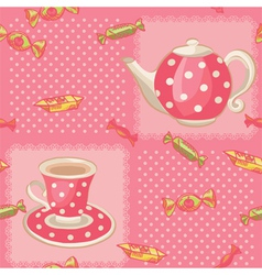 Seamless pattern with tea set vector image