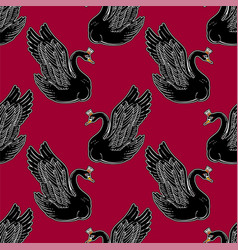 Seamless pin-up pattern with black swan princess vector
