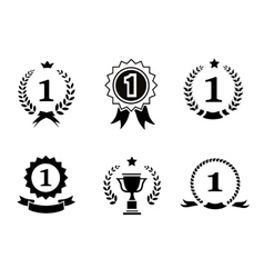 Set of black and white circular winner emblems vector image vector image