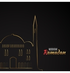 Single flat icon of mosque isolated on black vector