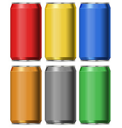 Six colors of cans without labels vector