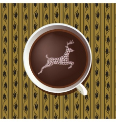 stag in coffee cup vector image vector image