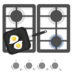 White gas stove with frying pan and fried eggs vector