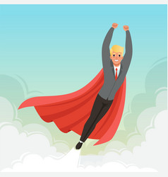 Young businessman flying with hands up on blue sky vector