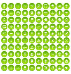 100 aviation icons set green circle vector