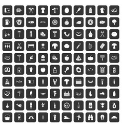 100 barbecue icons set black vector image
