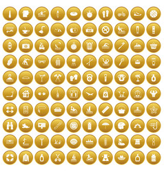 100 human health icons set gold vector