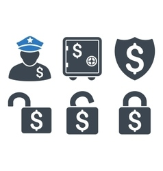 Financial guard flat icons vector