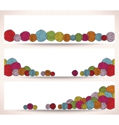 Set of horizontal banners with yarn balls vector