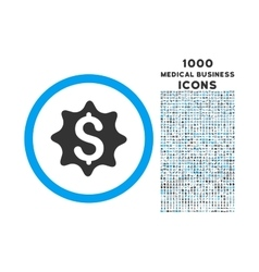 Money Award Rounded Symbol With 1000 Icons vector image