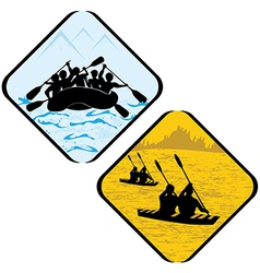 Water sea sport rowing rafting vector
