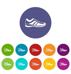 Men sneakers set icons vector