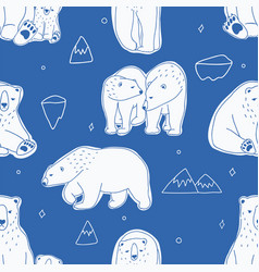 Seamless pattern with white polar bears hand vector