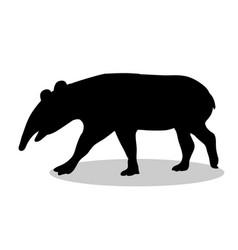 Tapir mammal black silhouette animal vector