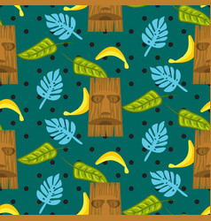 Tiki mask and palm leaves seamless pattern vector