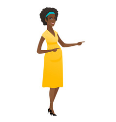 African pregnant woman pointing to the side vector