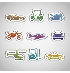 Flat retro color stickers - set eleven vector
