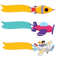 Planes with banners set vector
