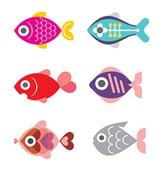 fish icon set 1115 vector image