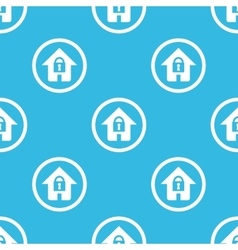 Locked house sign blue pattern vector