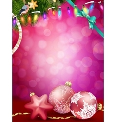 Christmas baubles and ribbon eps 10 vector