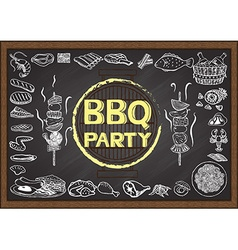 BBQ on chalkboard vector image