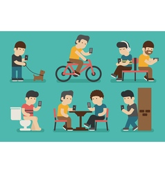 Internet and smartphone addiction  eps10 f vector
