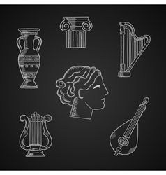 Classic art and musical instruments icons vector image
