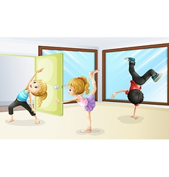 Three kids stretching and dancing vector