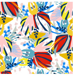 Abstract floral elements paper collage vector