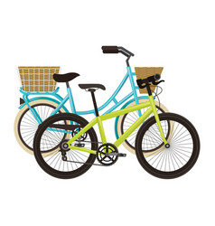 antique bicycle with basket and racing bike vector image