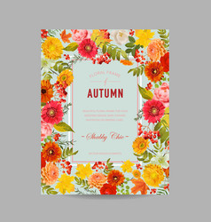 Autumn photo frame with maple leaves and flowers vector