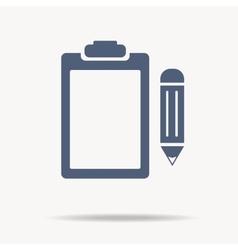 blue clipboard flat icon vector image vector image