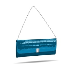 Blue women bag isolated on white photo-realistic vector image