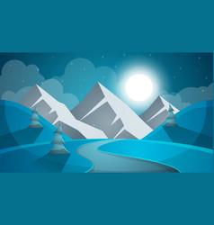 Cartoon snow landscape sun snow fir mountine vector