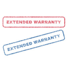 Extended warranty textile stamps vector