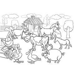 farm animals cartoon for coloring book vector image