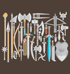 flat design colors medieval cold weapon set vector image