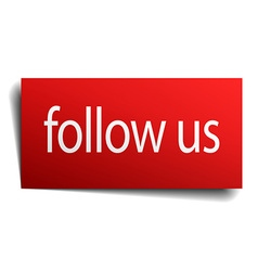 Follow us red paper sign on white background vector