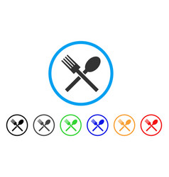 fork and spoon rounded icon vector image