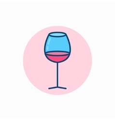 Glass of wine colorful icon vector image