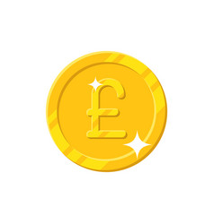 gold pound coin cartoon style isolated vector image