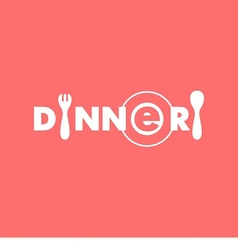 logo text dinner with plate spoon and fork vector image vector image