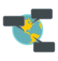 Online chat around the world icon flat style vector