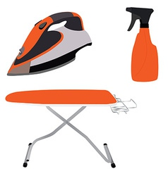 Orange ironing board iron and spray vector