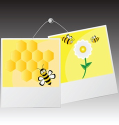 photo frame with cute bee vector image vector image
