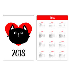 pocket calendar 2018 year week starts sunday vector image vector image