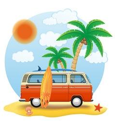 retro minivan 03 vector image vector image