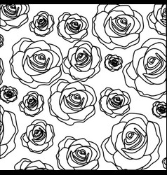 Silhouette pattern bud roses floral design vector