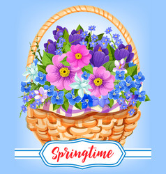 Springtime garden flowers in basket vector